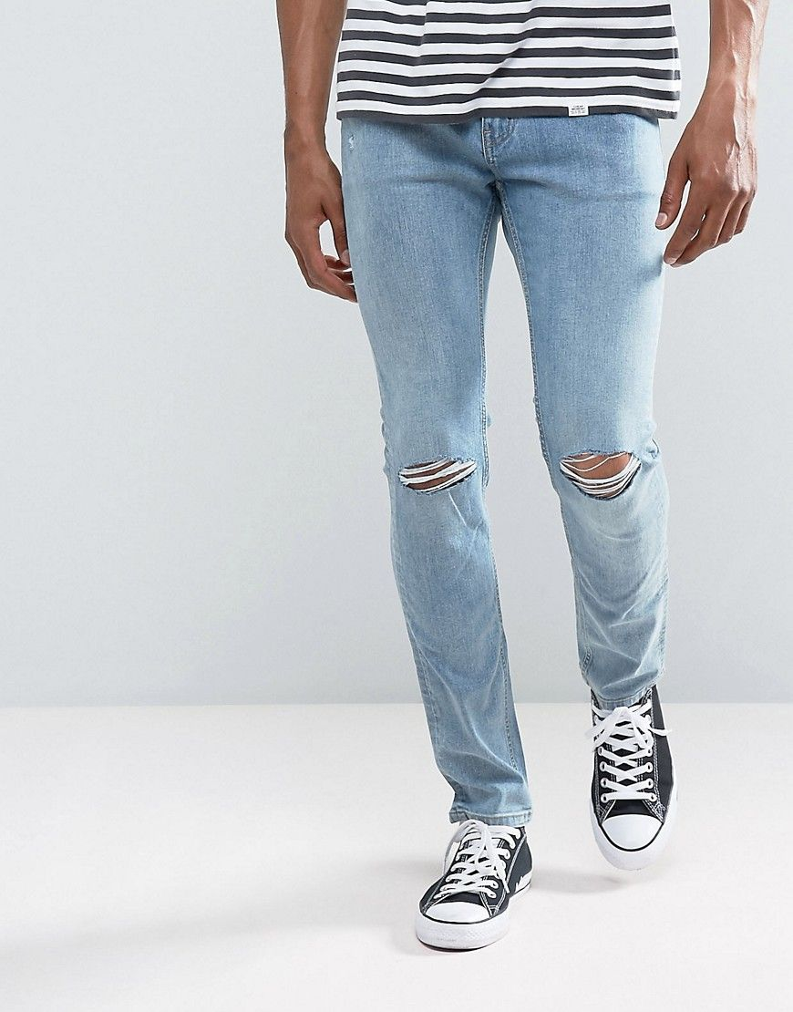 9e701aab363 Cheap Monday Tight Skinny Jeans Spear Blue Knee Rip | style | Jeans ...
