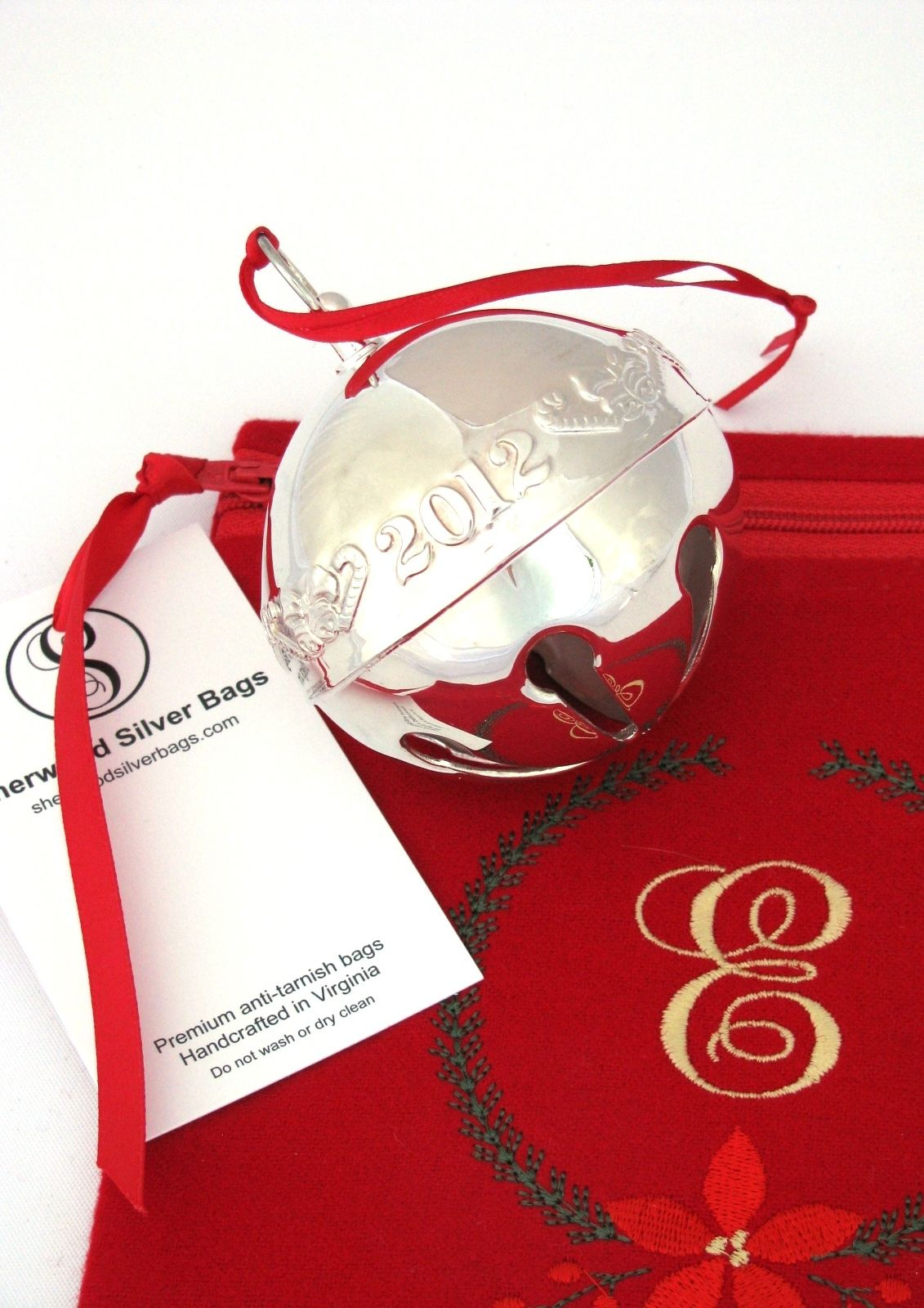 Anti Tarnish Bag For Silver Christmas Ornament Storage, Monogrammed Sterling  Silver Storage Bag For Holly Bell, Silver Bell