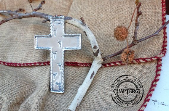 Free Ship  Small Pewter Silver Cross w/ Footprints by Chapter65