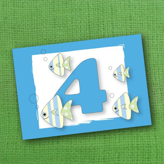 A Birthday Card For 4 Year Old Girl Or Boy By JacobyDesign On Etsy 333