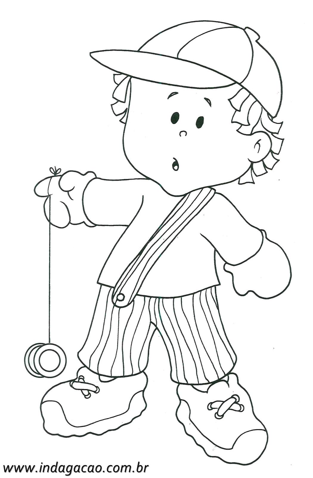 Desenho De Menino Brincando Com Ioio Para Colorir Baixar
