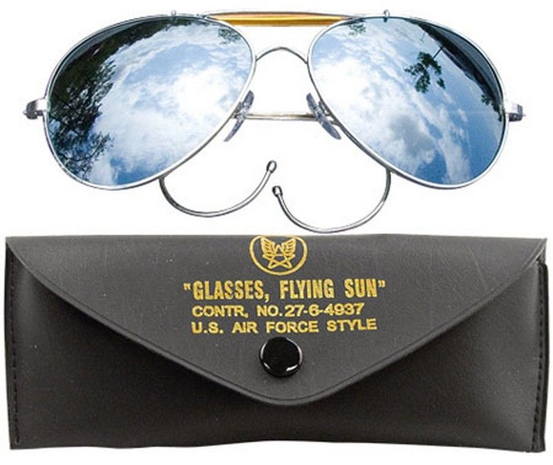 68f6c173e66 Air Force Style Mirrored Lens Sunglasses With Case