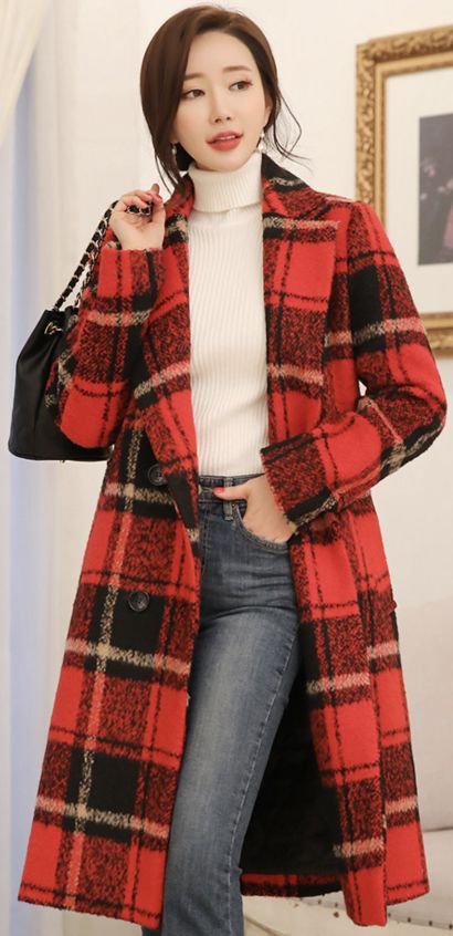 Red Plaid Coat Outfit, Red Check Winter Coat