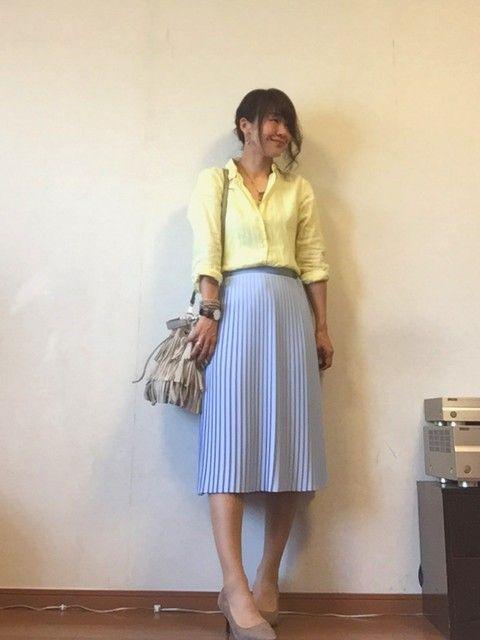b05f24a2f29b3 パステルカラーをプラスした水色スカートコーデ