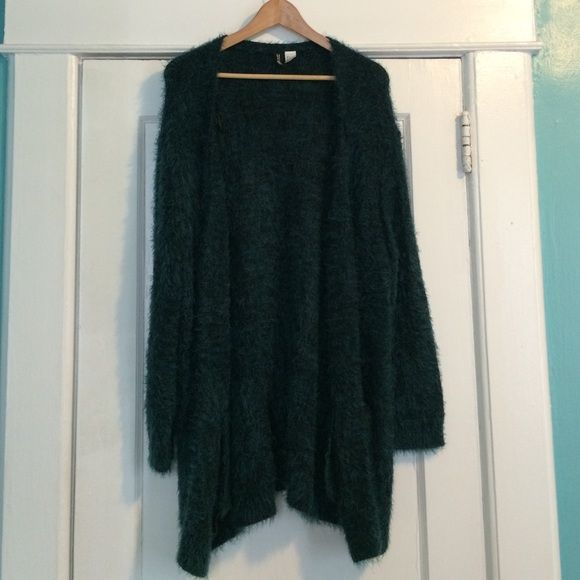 H&M Long Soft Cardigan Only worn once, blue-green/black soft cardigan H&M Sweaters Cardigans