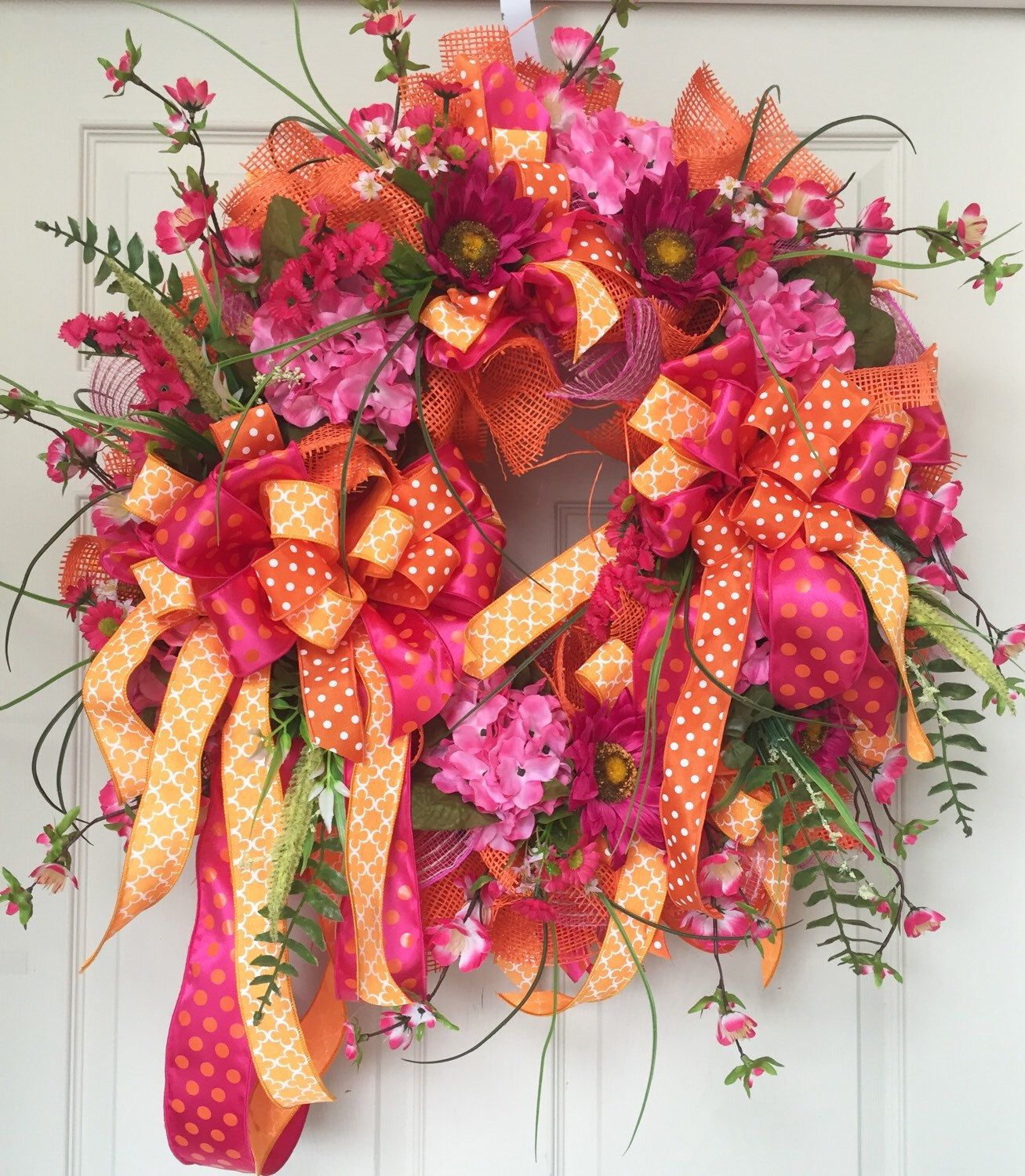 Whimical Ribbon Mesh Spring and Summer Wreath by