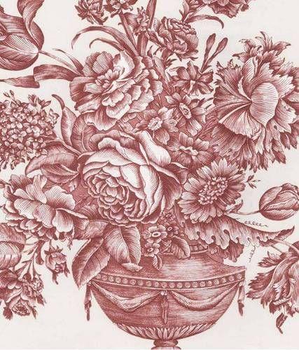 Pierre Deux Gardenia Rose Toile Wallpaper Victorian Urn Birds Red White Double
