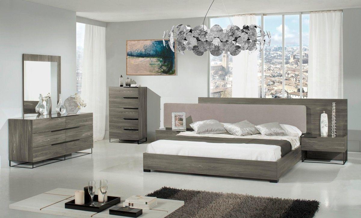 Modrest Enzo Italian Modern Grey Walnut Fabric Bedroom Set