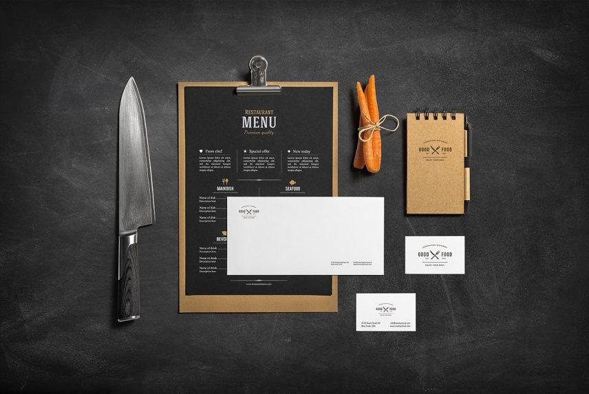 Restaurant Bar Stationery Branding Mockup
