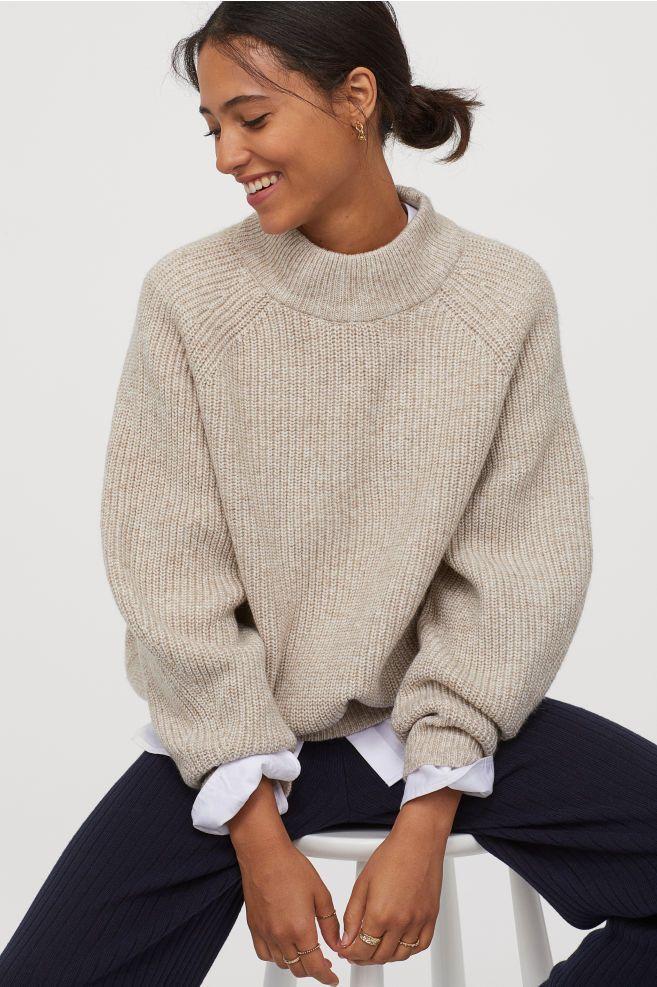 Pullover mit Turtleneck - Beigemeliert - Ladies   H&M DE