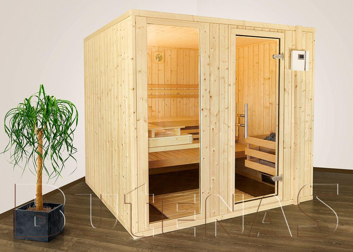 Sauna HELSINKI 4 Eck Sauna außen, Wand ofen und Saunaliegen