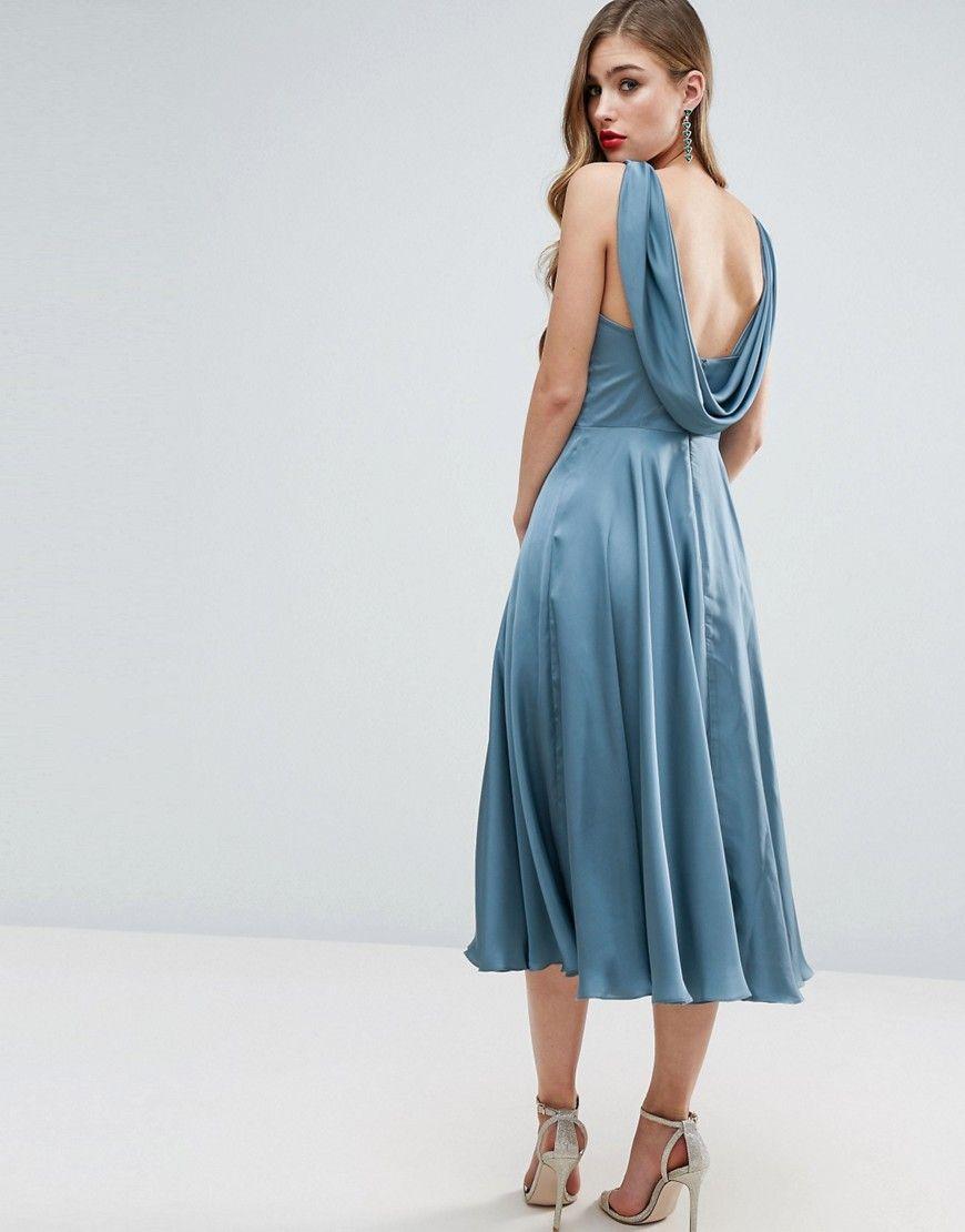 Asos wedding premium drape cowl back midi dress blue