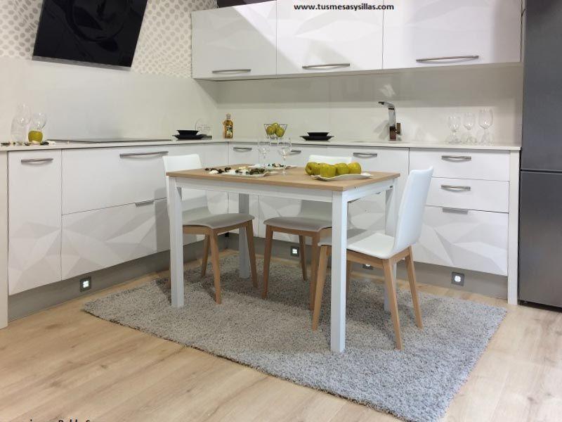 Mesa de cocina Flora en blanco y encimera en roble sega claro de ...
