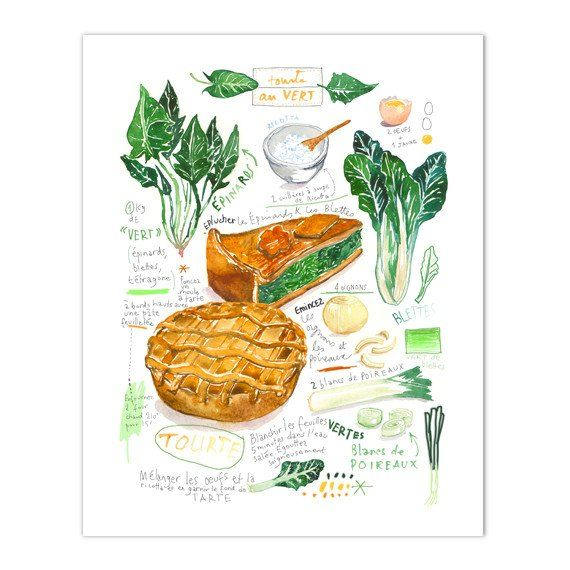 """Green garden vegetable pie Archival giclee reproduction print from watercolor painting with french handwritting. Signed with pencil. Printed on beautiful fine art """" BFK Rives """" hot-pressed paper, smoo"""