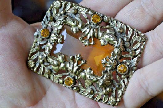 VintageArt Deco Gold Gilt Amber Brooch