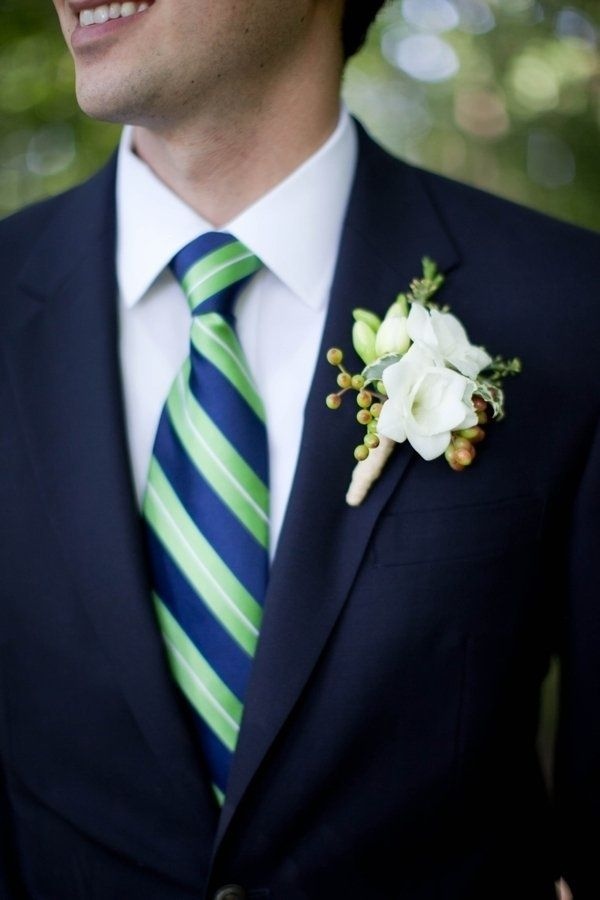 Navy/apple tie works great with a navy suit for a wedding by the lake.