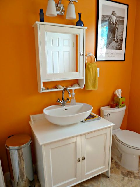 Another Orange For Downstairs Bath Diy Bathroom Makeover Orange Bathrooms Diy Bathroom Decor