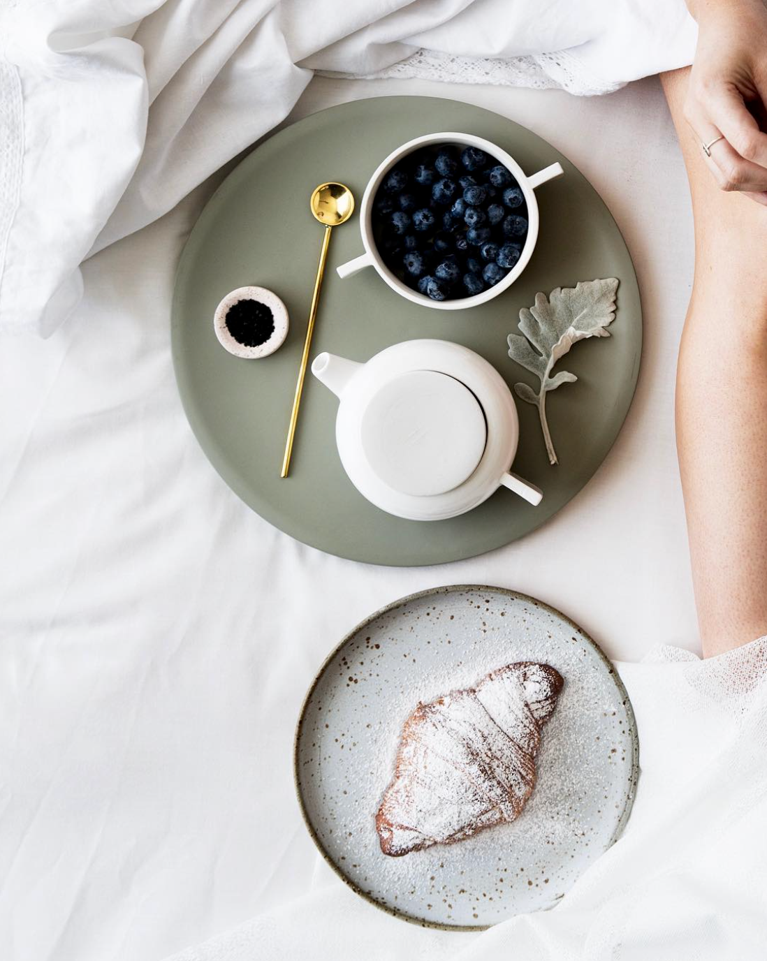 Breakfast in bed. Only topped off by landing your feet