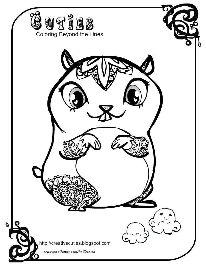 Free coloring pages hamsters - Creative Cuties Color Pages Cute Hamster Coloring Page