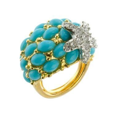 Kenneth Jay Lane Turquoise And Crystal Starfish Ring Turquoise H47VzDvw