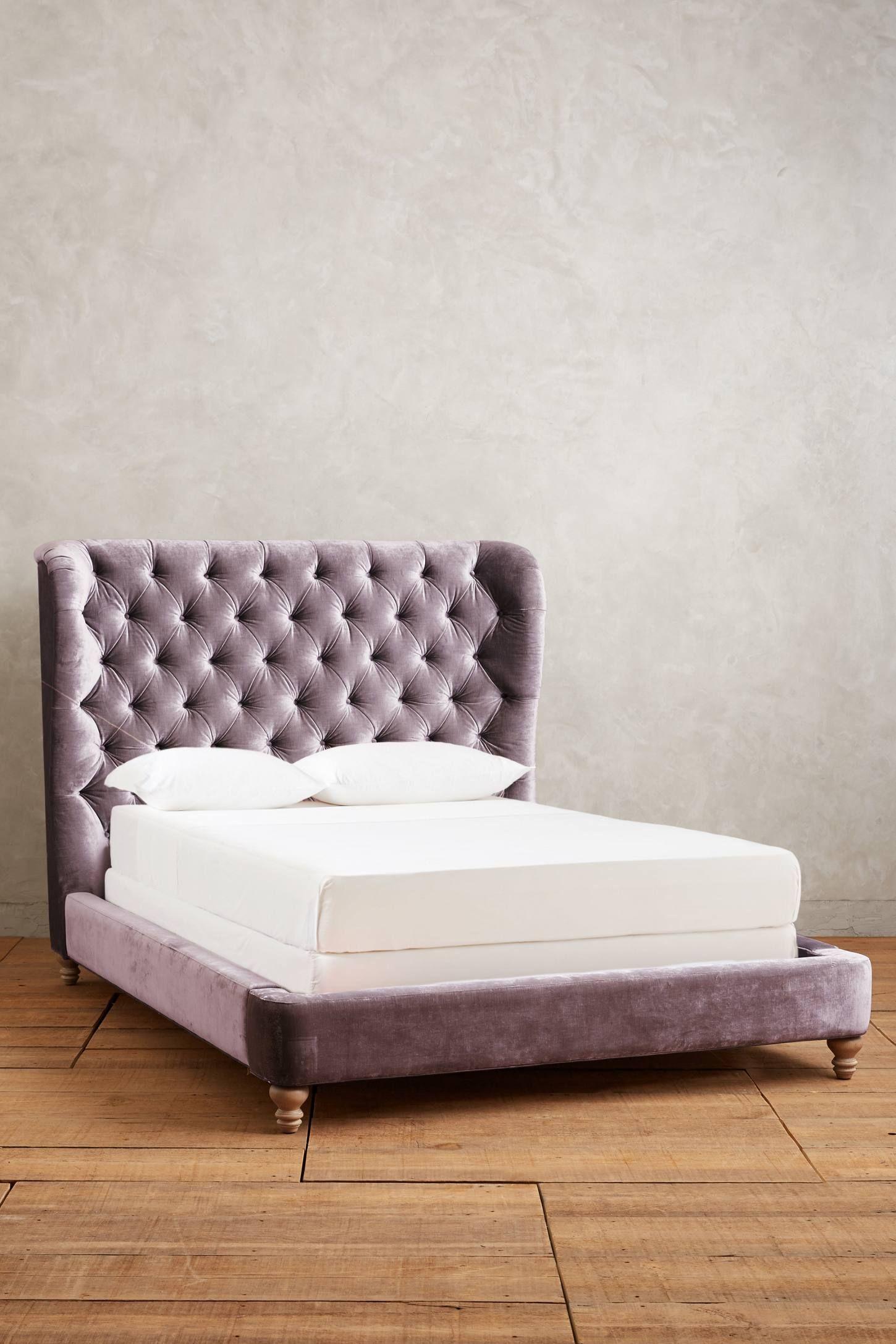 Velvet Tufted Wingback Bed | Pinterest