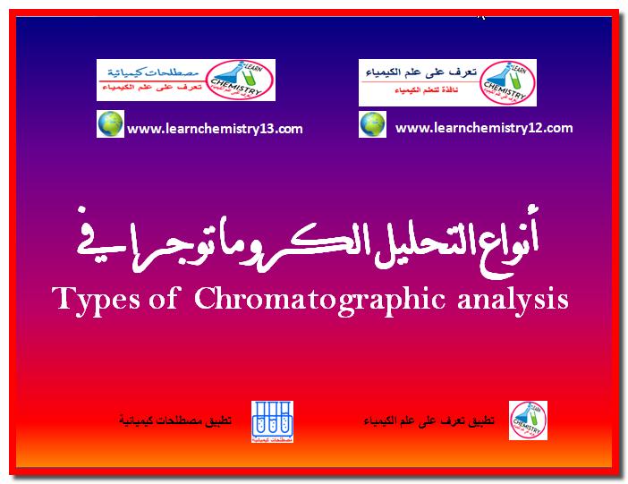 أنواع التحليل الكروماتوجرافي Types Of Chromatographic Analysis Chemistry Analysis Learning