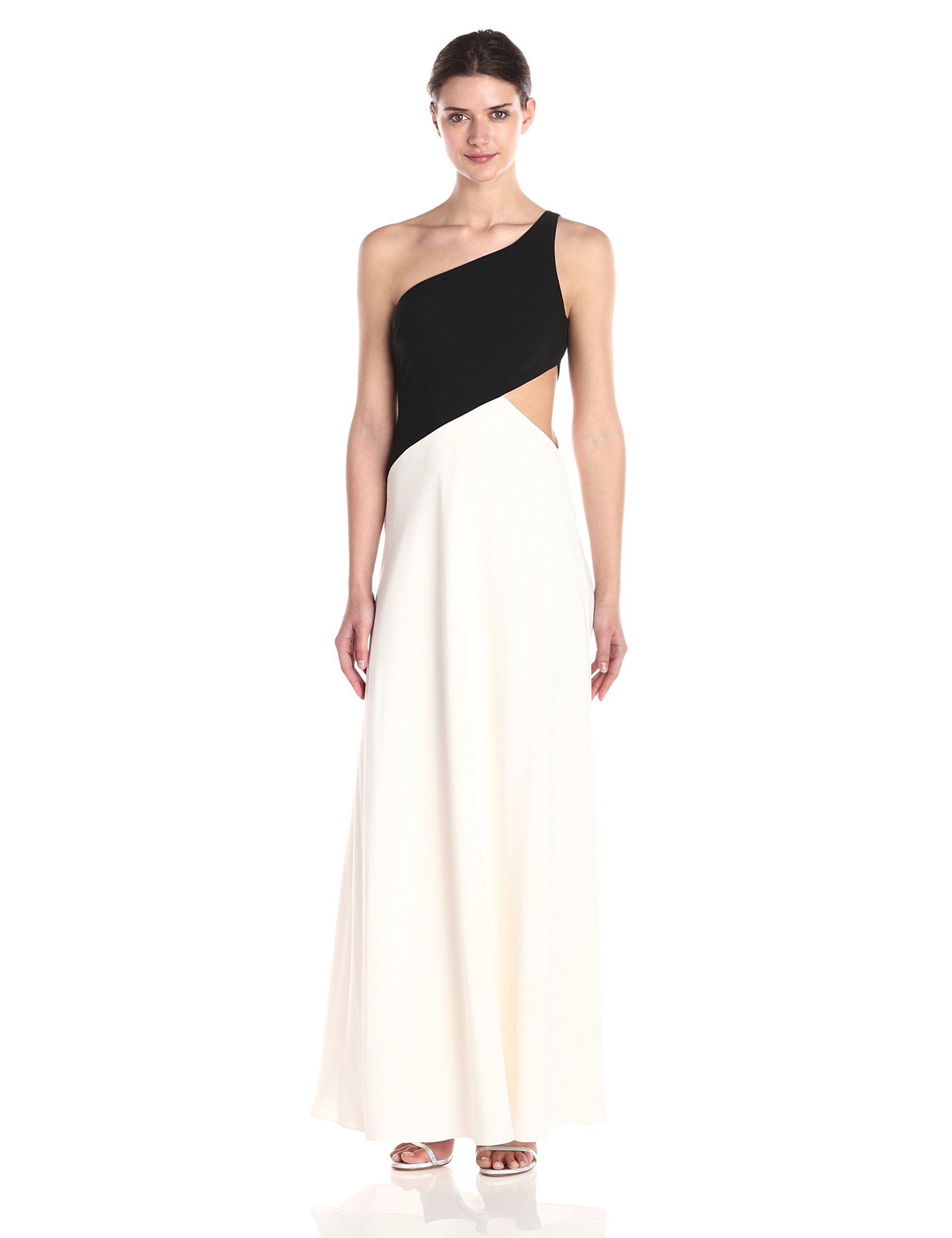 Jill jill stuart womens one shoulder ply crepe gown blackoffwhite