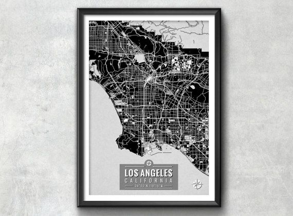 Los Angeles Map With Coordinates Art: Los Angeles Map Print At Infoasik.co