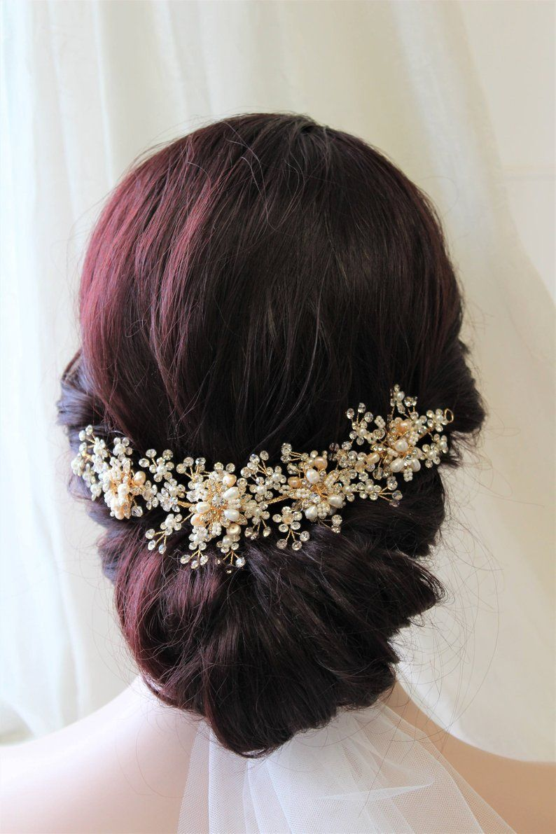 gold wedding hair piece bridal back headpiece freshwater