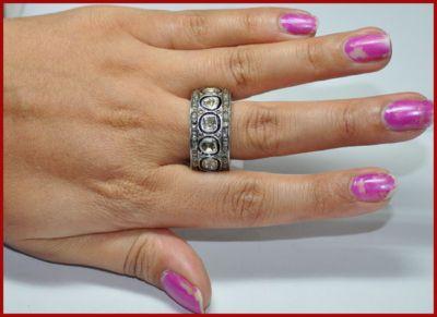 3.78ctw ROSE/ANTIQUE CUT DIAMOND 14k GOLD RING/BAND $809.00