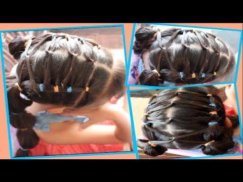 peinado para nia facil con cabellos cruzados y trenza de ligas