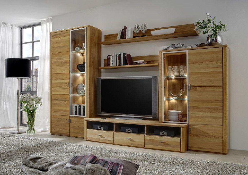 Wohnzimmer Kernbuche ~ Wohnwand kernbuche teilmassiv woody modern jetzt