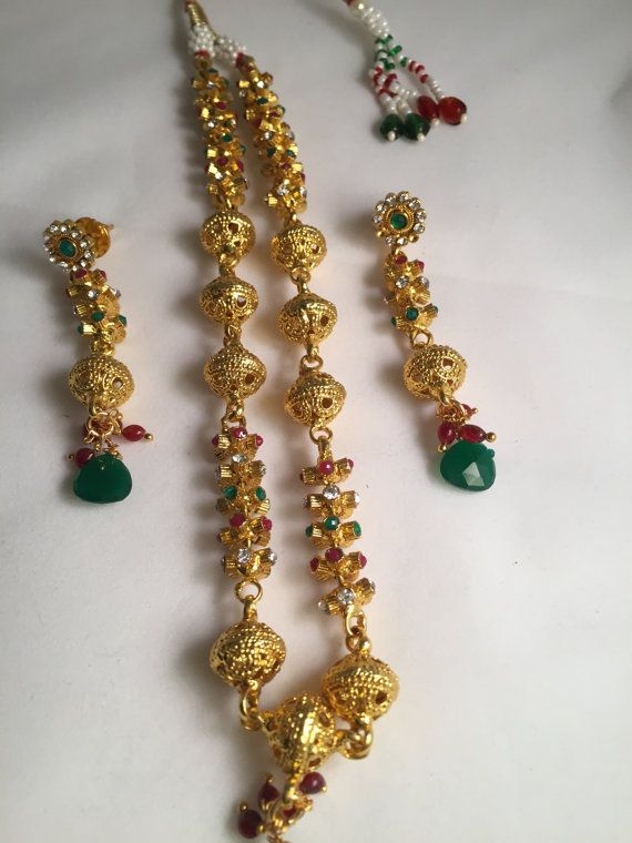 On Sale  Green and Red Balls Necklace Set Indian by Alankaar