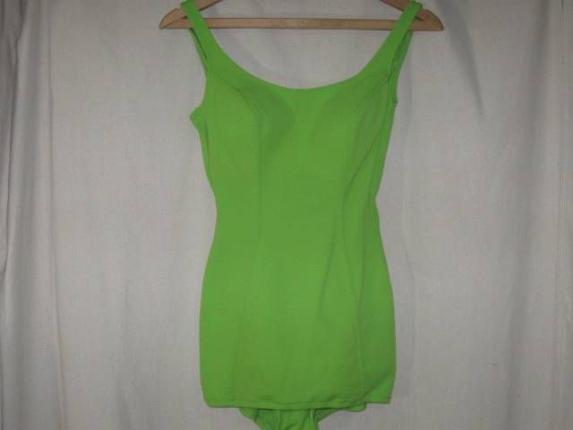 Vintage 50s 60s Sea Lure California Bright Lime Green Pinup Swimsuit 34 Bust S #SeaLure #SummerBeach