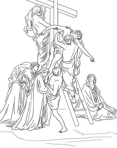 Thirteenth Station - Jesus is Taken Down from the Cross Coloring ...