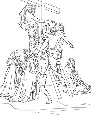 Tredicesima Stazione Gesù è Deposto Dalla Croce Disegno Da