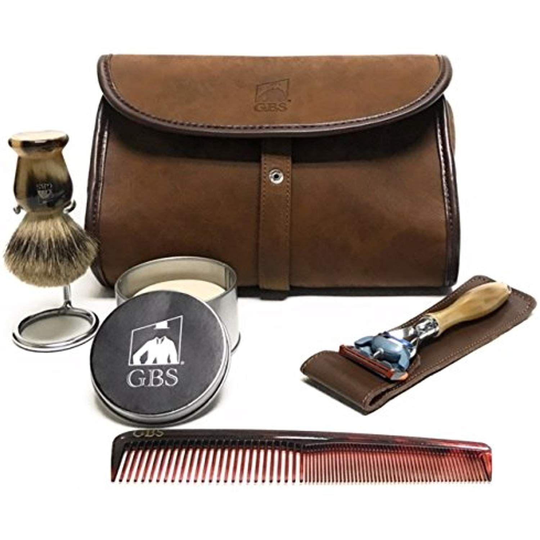 d8f734e7d7c6 GBS Men's Deluxe Travel Doppler Grooming Beard and Wet Shaving Set ...