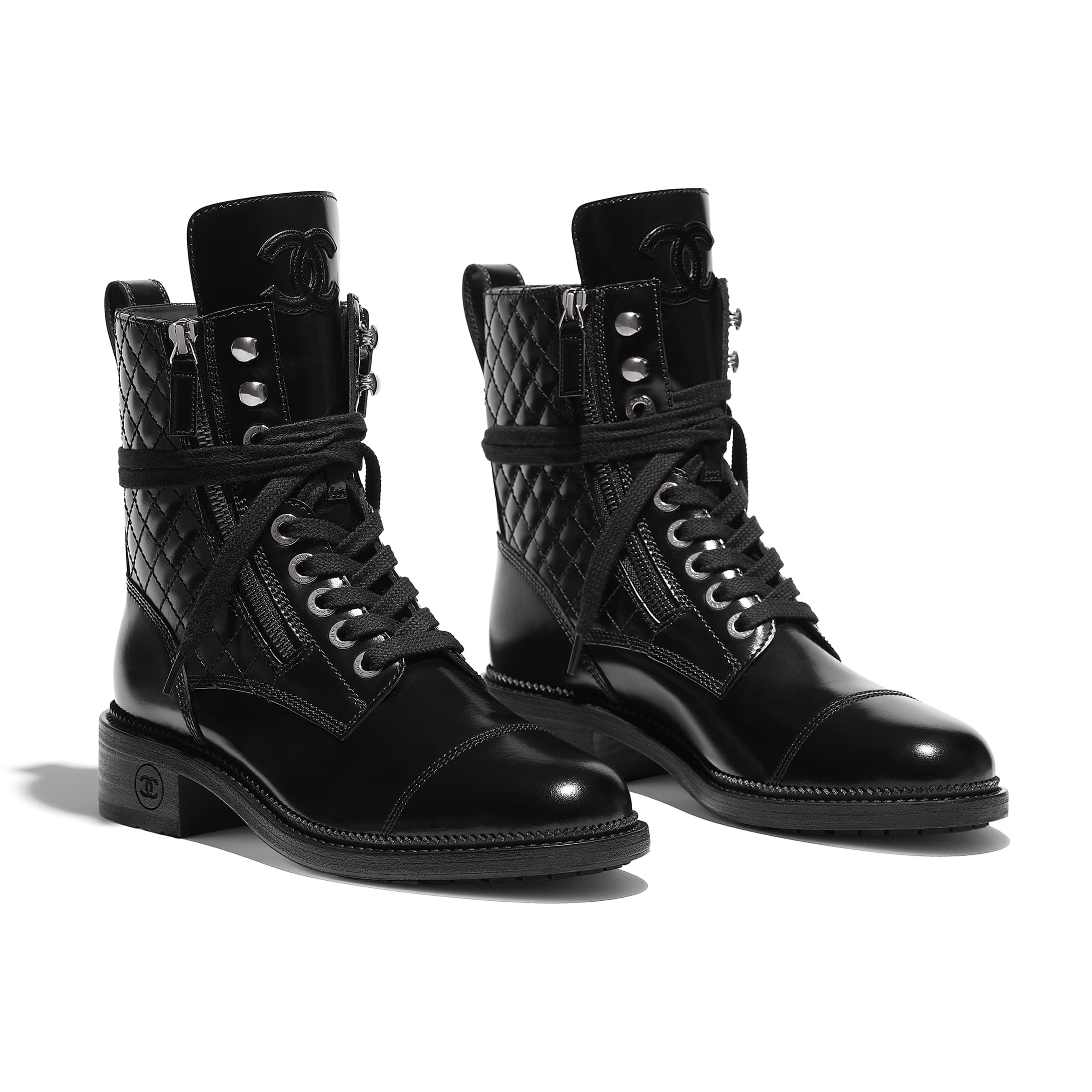 Boots, Lace up combat boots, Chanel