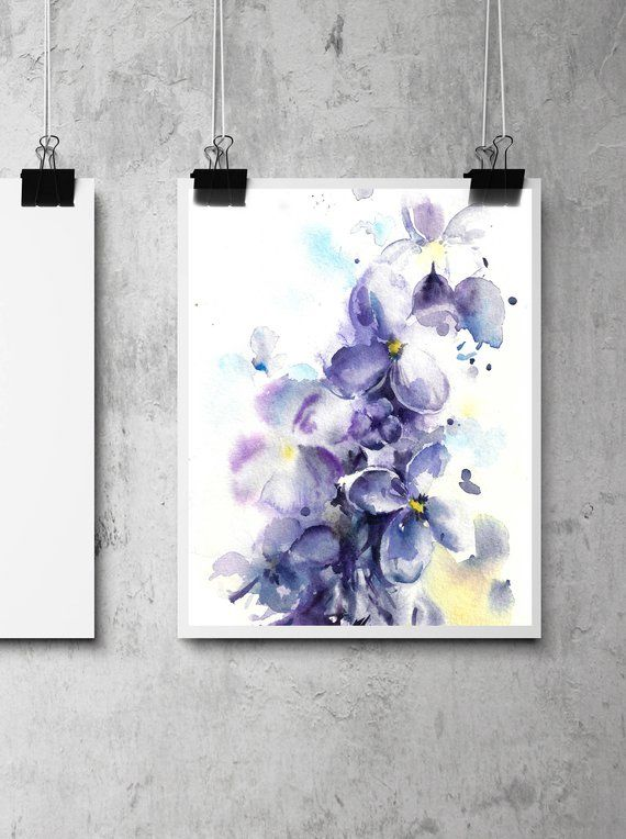 Lilac Flowers Botanical Fine Art Print Purple Blossoms Abstract Realism Watercolor Painting Fl