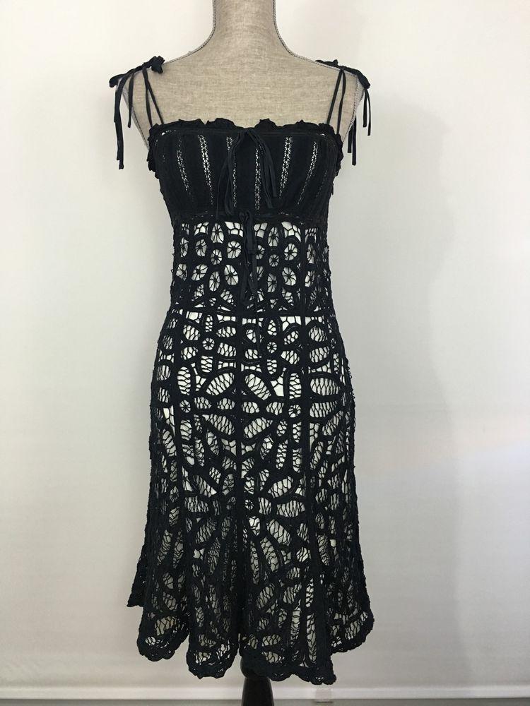 1ce9c2839056 Betsey Johnson Black Crochet Lace Dress Spaghetti Strap Size Small s White  Liner | eBay