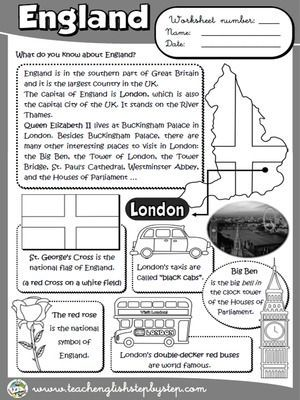 England Worksheet (B&W version) United Kingdom for