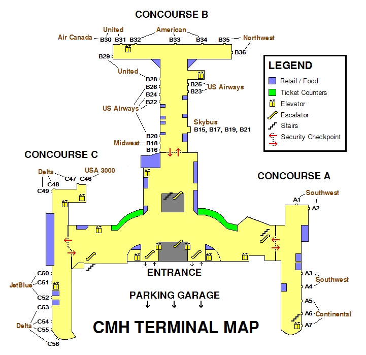 columbus ohio airport terminal map Port Columbus Airport Terminal Map Travel Insurance Reviews columbus ohio airport terminal map