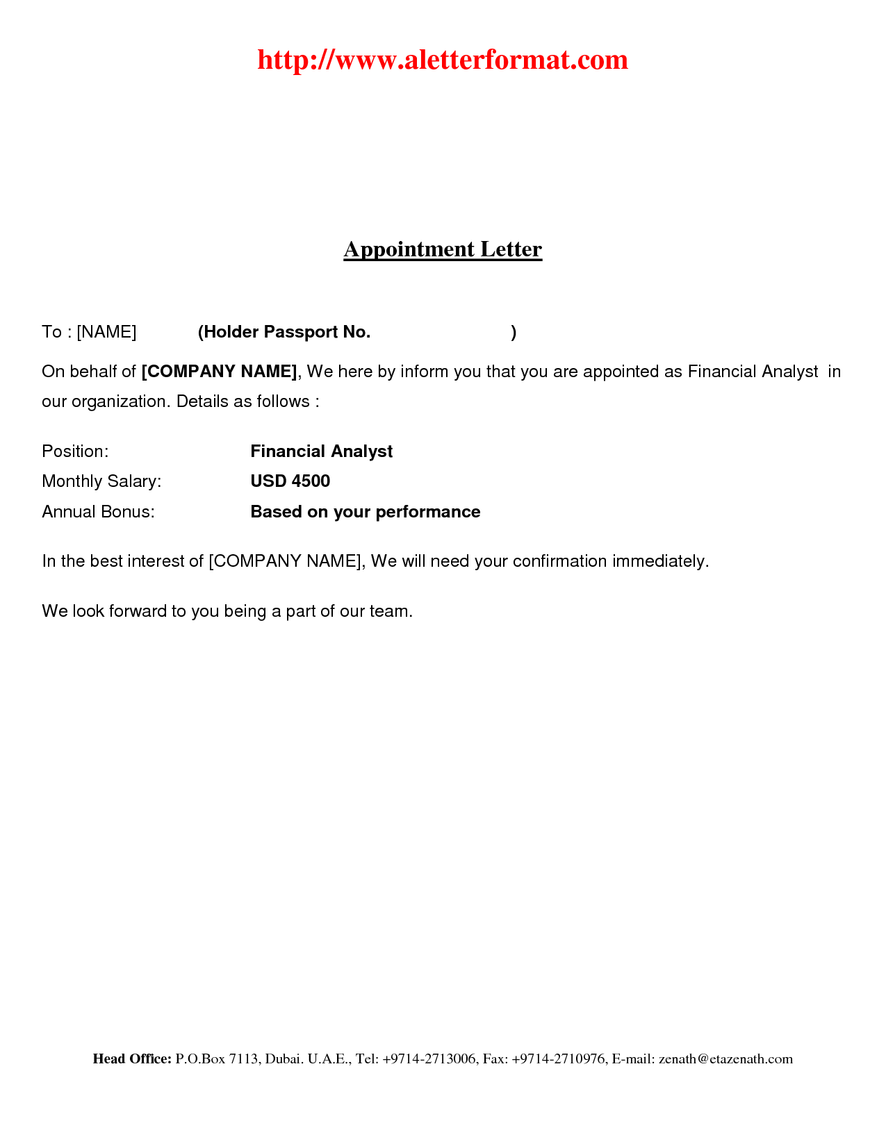 Simple Job Offer Letter Template Sample Appointment Format ...