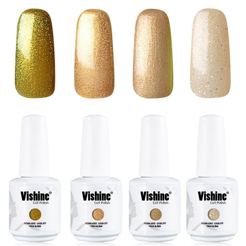 Vishine Nail Art UV LED Gel Polish Varnish Long-lasting 4 Colors ...