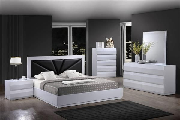 Bailey White Mdf Wood Master Bedroom Set White Bedroom Set Bed Furniture Design Bedroom Set