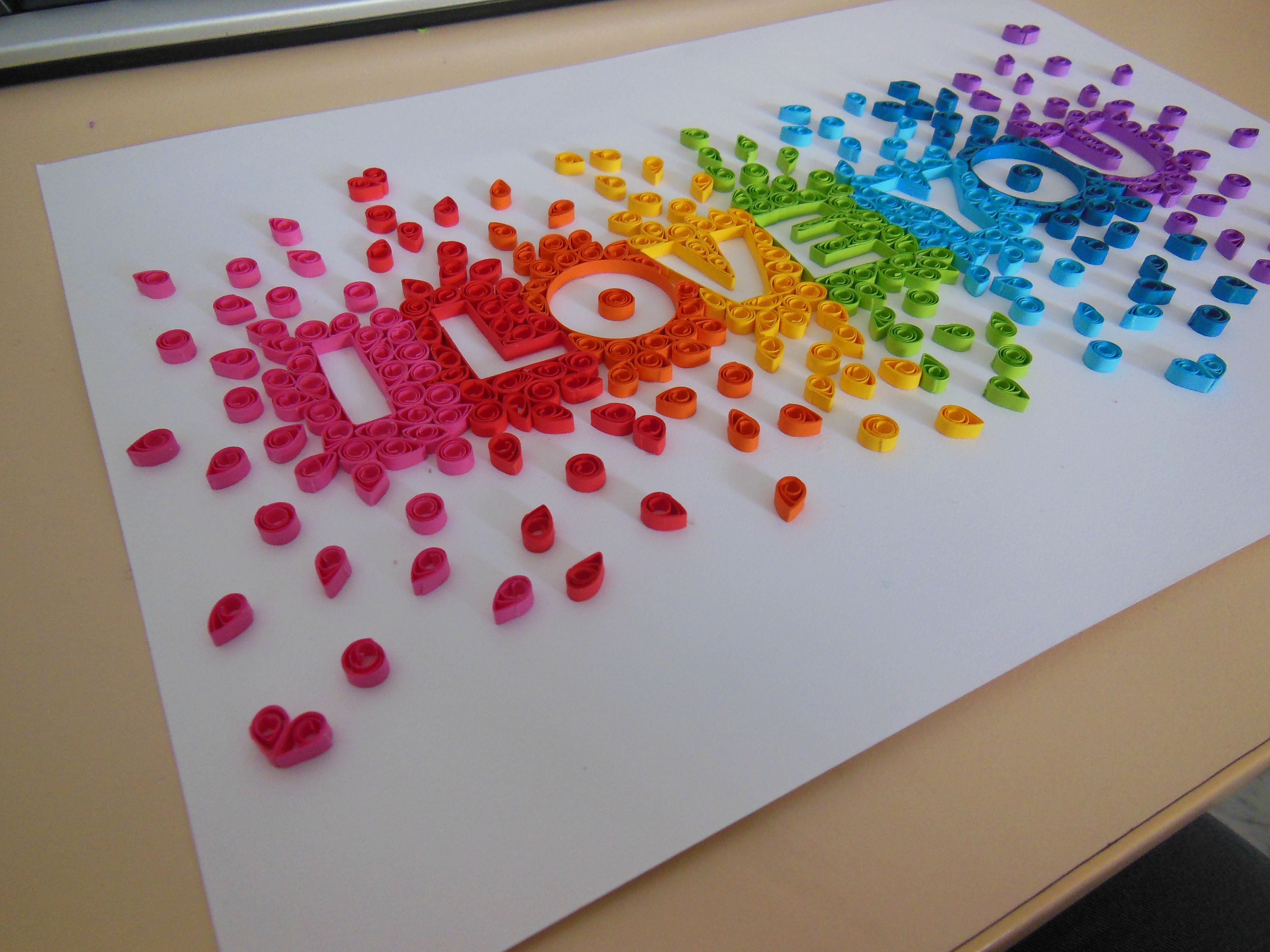 """Rainbow """"I Love You"""" quilling. By Silver"""