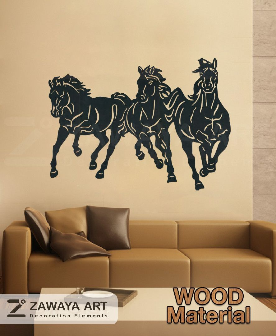 The 3 Horses Wall Art Wood Craft - Wood horse wall decoration,crafts ...