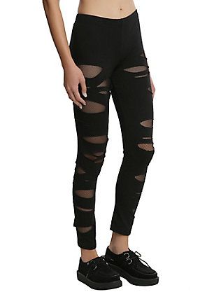 c88a379eeac95 Black Shredded Fishnet Leggings, BLACK   clothes and headsets ...
