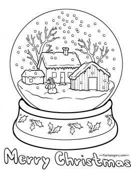 Printable Christmas Snow Globe Coloring Pages For Kids With