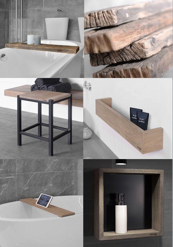 looox houten badkamer accessoires, o.a. handige shampoonis in, Badkamer